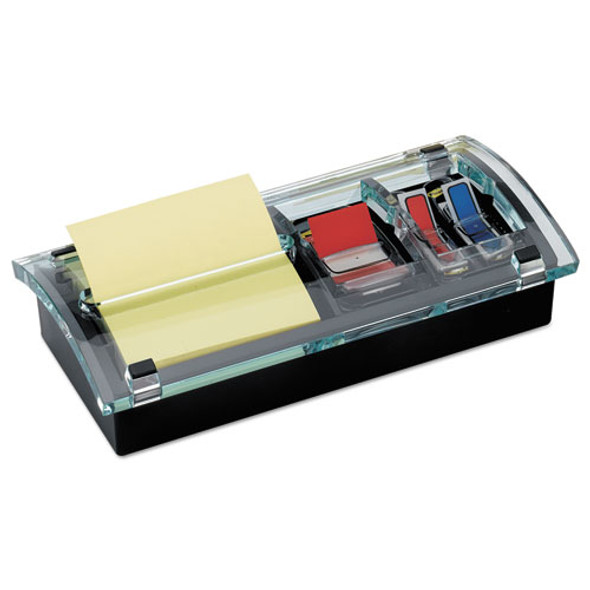 Note And Flag Dispenser, 3 X 3 Canary Notes And Assorted Flags, Black/clear