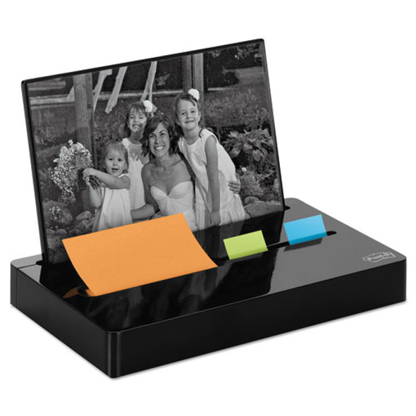 """Pop-up Note/flag Dispenser Plus Photo Frame With 3 X 3 Pad, 50 1"""" Flags, Black"""