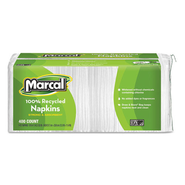 100% Recycled Lunch Napkins, 1-ply, 11.4 X 12.5, White, 400/pack