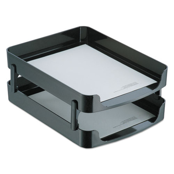 "2200 Series Front-loading Desk Tray, 2 Sections, Letter Size Files, 10.25"" X 13.63"" X 2"", Black"