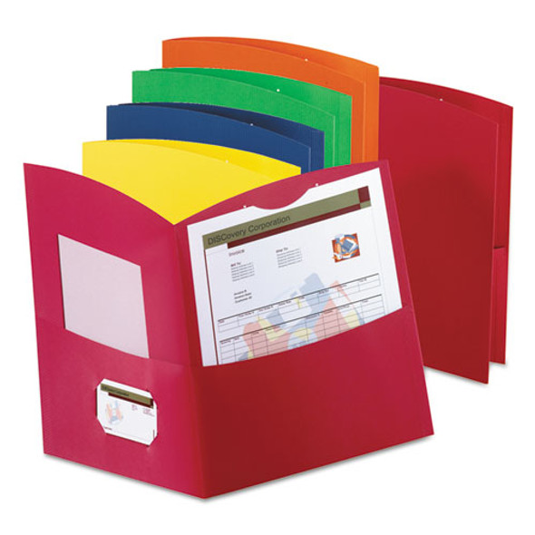 Contour Twin-pocket Reycled Paper Folders, 100-sheet Capacity, Assorted Colors