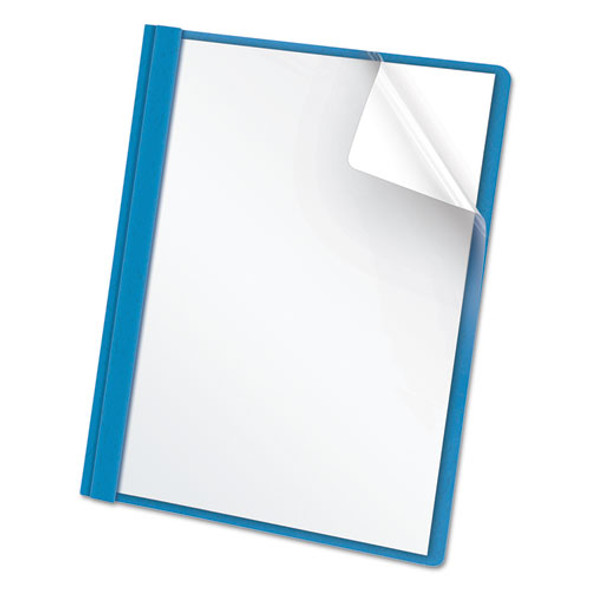 """Clear Front Report Cover, 3 Fasteners, Letter, 1/2"""" Capacity, Blue, 25/box"""