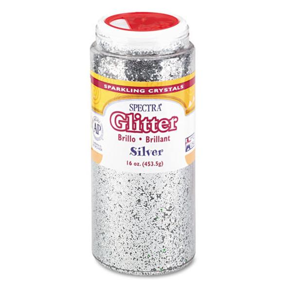 Spectra Glitter, .04 Hexagon Crystals, Silver, 16 Oz Shaker-top Jar