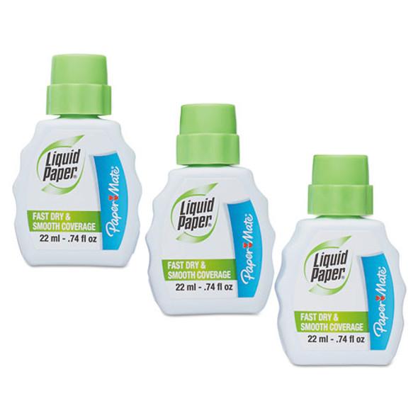 Fast Dry Correction Fluid, 22 Ml Bottle, White, 3/pack