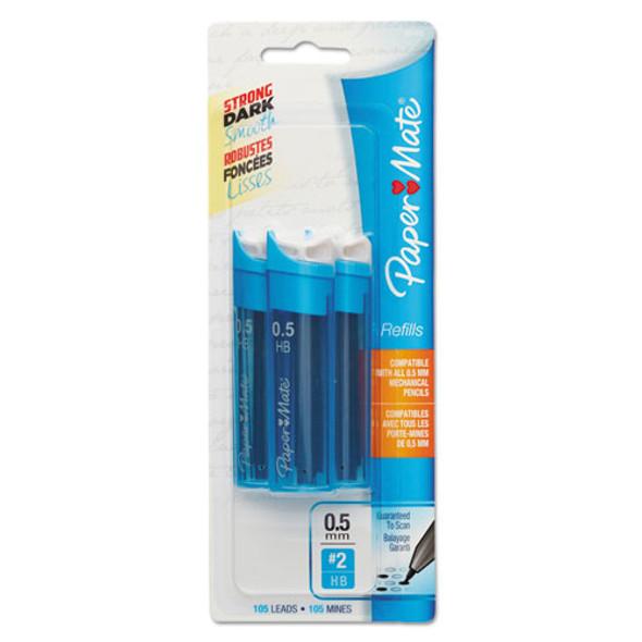 Lead Refills, 0.5 Mm, Hb, Black, 35/tube, 3 Tubes/pack