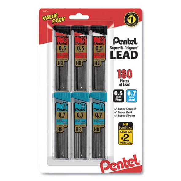 Super Hi-polymer Lead Refill Value Pack, 0.5 Mm; 0.7 Mm, Hb, Black, 30/tube, 6 Tubes/pack