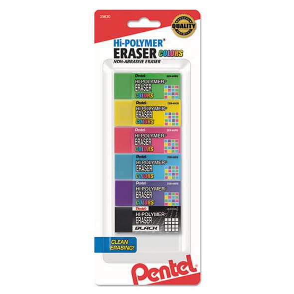 Hi-polymer Eraser, Rectangular, Medium, Assorted, Latex-free Hi-polymer, 6/pack