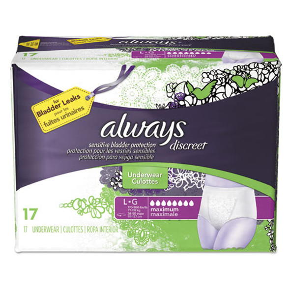Discreet Incontinence Underwear, Large, Maximum Absorbency, 17/pack, 3 Packs/carton