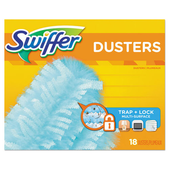 Dusters Refill, Fiber Bristle, Light Blue, 18/box