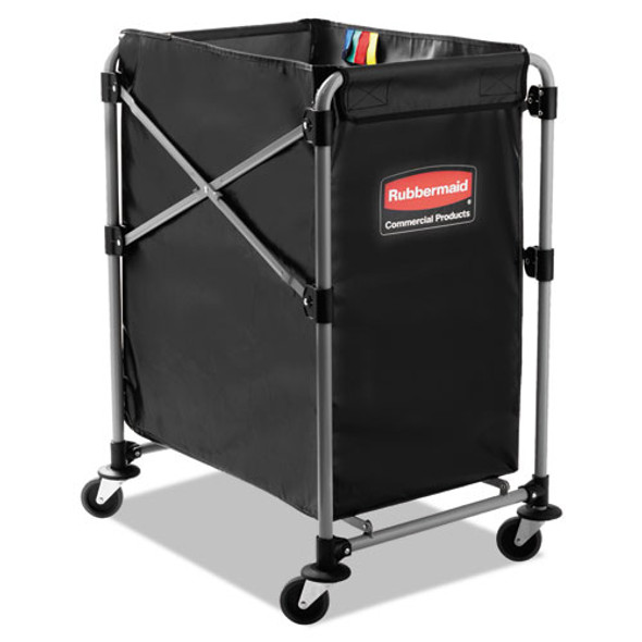 Collapsible X-cart, Steel, Four Bushel Cart, 20.33w X 24.1d X 34h, Black/silver
