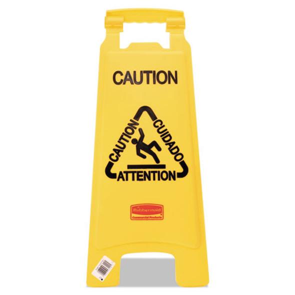 "Multilingual ""caution"" Floor Sign, Plastic, 11 X 12 X 25, Bright Yellow"