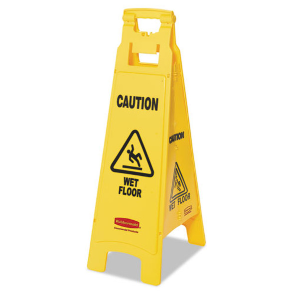 Caution Wet Floor Floor Sign, 4-sided, Plastic, 12 X 16 X 38, Yellow