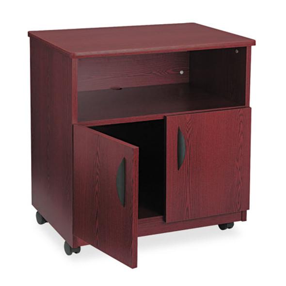 Laminate Machine Stand W/open Compartment, 28w X 19.75d X 30.5h, Mahogany