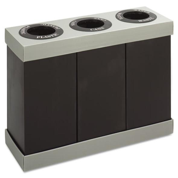 At-your-disposal Recycling Center, Polyethylene, Three 84 Gal Bins, Black