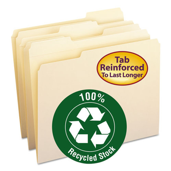 100% Recycled Reinforced Top Tab File Folders, 1/3-cut Tabs, Letter Size, Manila, 100/box