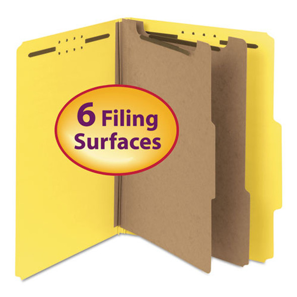 100% Recycled Pressboard Classification Folders, 2 Dividers, Letter Size, Yellow, 10/box