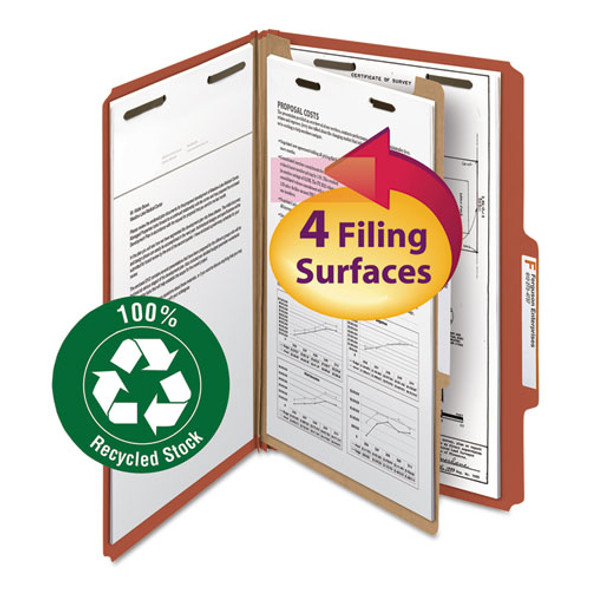 100% Recycled Pressboard Classification Folders, 1 Divider, Legal Size, Red, 10/box