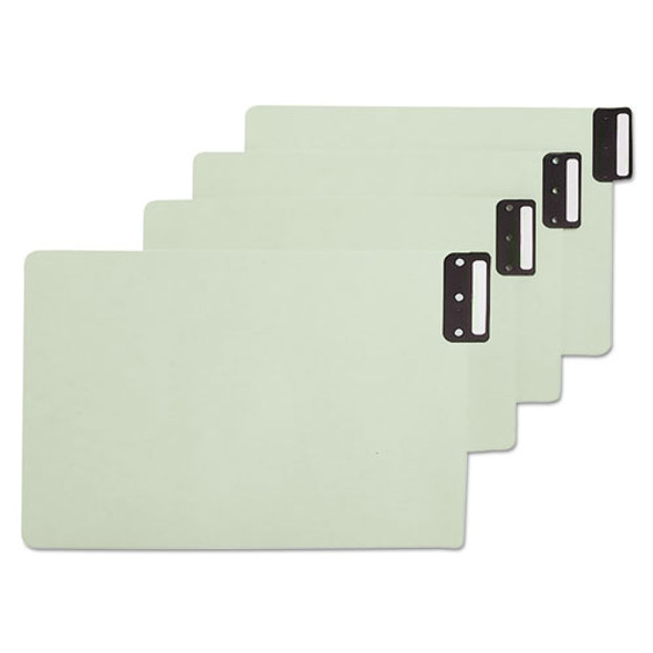 100% Recycled End Tab Pressboard Guides With Metal Tabs, 1/3-cut End Tab, Blank, 8.5 X 14, Green, 50/box