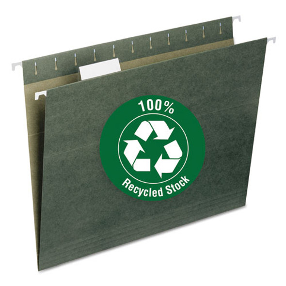 100% Recycled Hanging File Folders, Letter Size, 1/5-cut Tab, Standard Green, 25/box