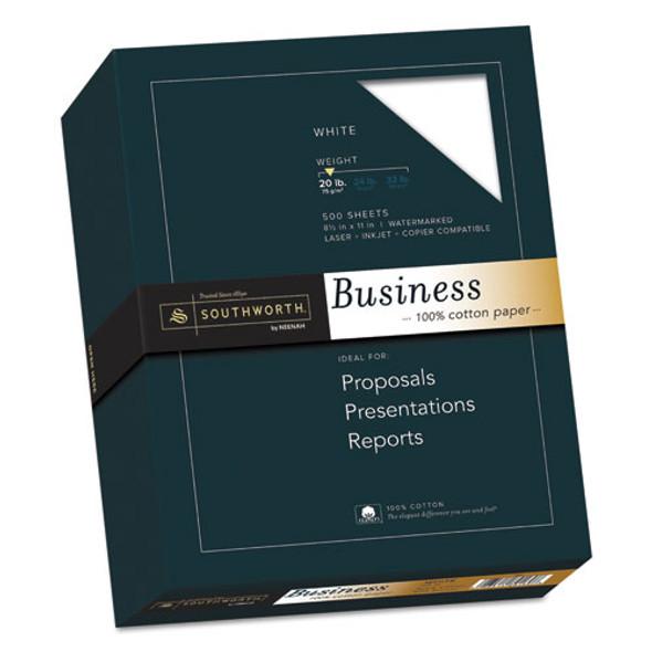 100% Cotton Business Paper, 95 Bright, 20 Lb, 8.5 X 11, White, 500/ream