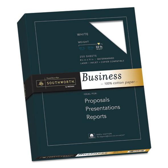 100% Cotton Business Paper, 95 Bright, 32 Lb, 8.5 X 11, White, 250/pack