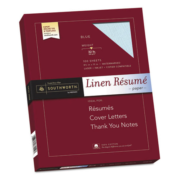 100% Cotton Premium Weight Linen Resume Paper, 32 Lb, 8.5 X 11, Blue, 100/pack