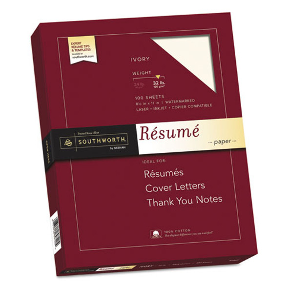100% Cotton Resume Paper, 32 Lb, 8.5 X 11, Ivory, 100/pack