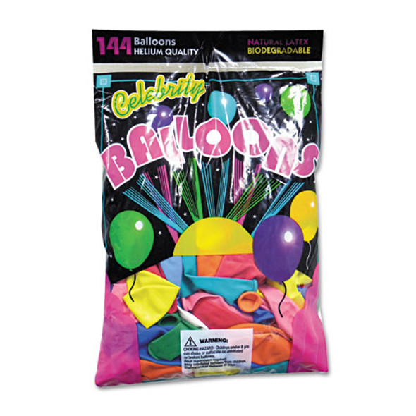 Helium Quality Latex Balloons, 12 Assorted Colors, 144/pack