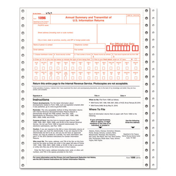 1096 Summary Transmittal Tax Forms, 2-part Carbonless, 8 X 11, 10 Forms