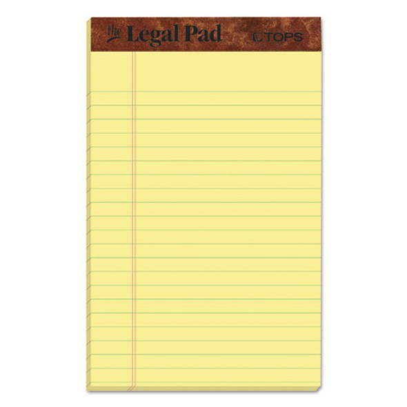 """""""the Legal Pad"""" Perforated Pads, Narrow Rule, 5 X 8, Canary, 50 Sheets, Dozen"""