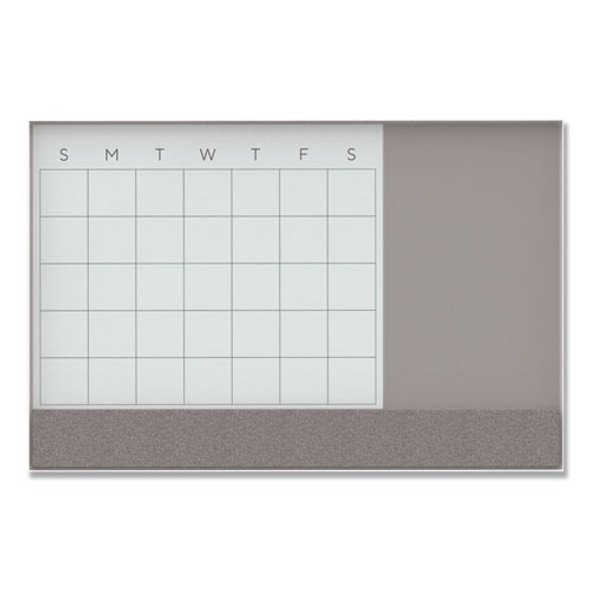 3n1 Magnetic Glass Dry Erase Combo Board, 48 X 36, Month View, White Surface And Frame