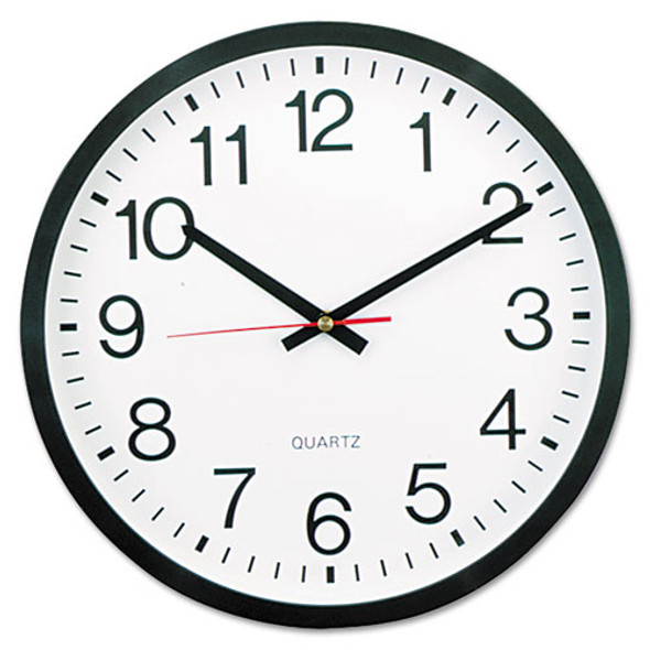 """Classic Round Wall Clock, 12.63"""" Overall Diameter, Black Case, 1 Aa (sold Separately)"""