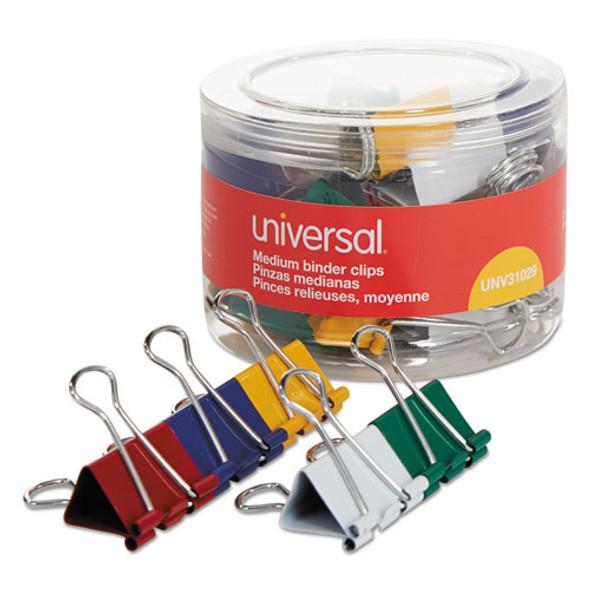 Binder Clips In Dispenser Tub, Medium, Assorted Colors, 24/pack