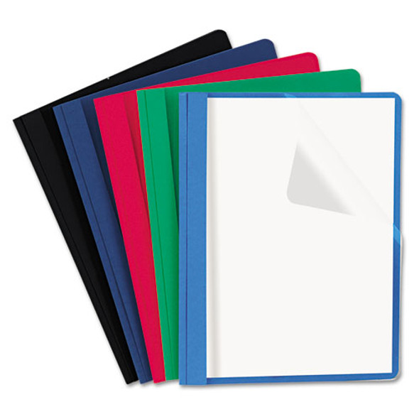 Clear Front Report Cover, Tang Fasteners, Letter Size, Assorted Colors, 25/box