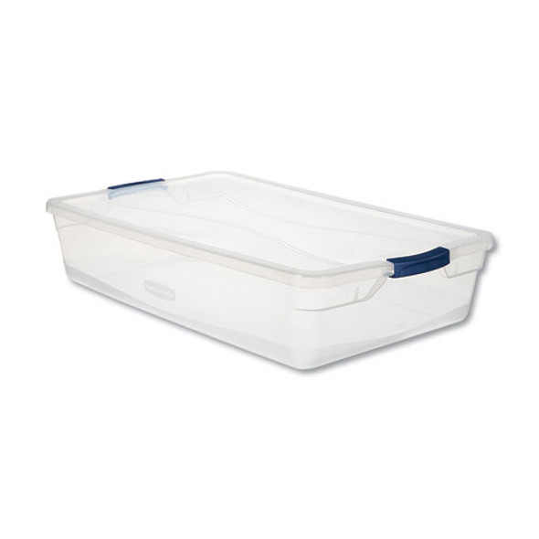 Clever Store Basic Latch-lid Container, 17 3/4w X 29d X 6 1/8h, 41qt, Clear