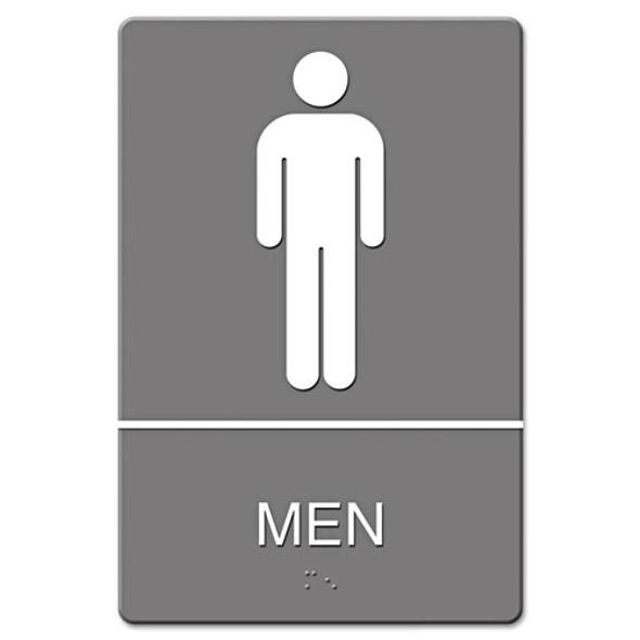 Ada Sign, Men Restroom Symbol W/tactile Graphic, Molded Plastic, 6 X 9, Gray