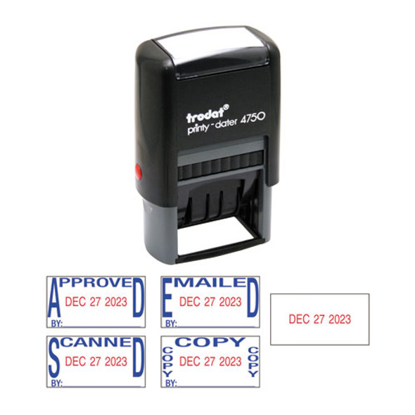 Economy 5-in-1 Date Stamp, Self-inking, 1 X 1 5/8, Blue/red