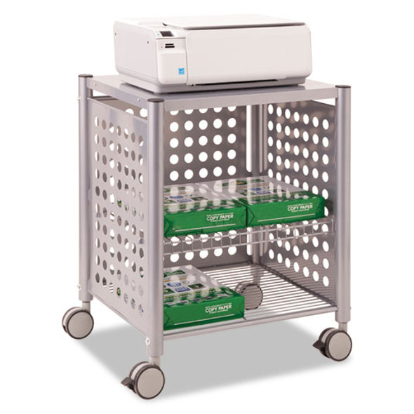 Deskside Machine Stand, Two-shelf, 21.5w X 17.88d X 27h, Matte Gray