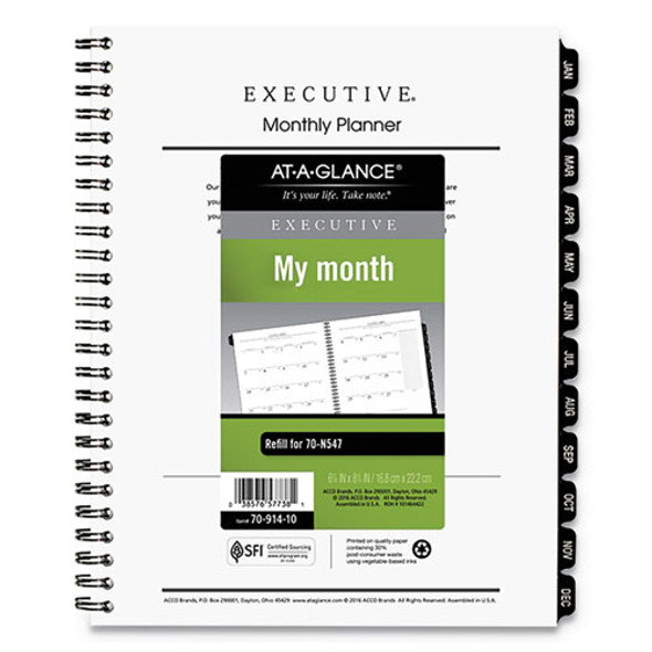 Executive Monthly Planner Refill, 8.75 X 6.5, White, 2021