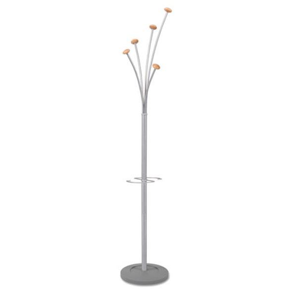 Festival Coat Stand With Umbrella Holder, Five Knobs, 14w X 14d X 73.67h, Silver Gray