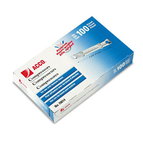 """Premium Two-piece Paper Fasteners, 1"""" Capacity, 2.75"""" Center To Center, Silver, 100/box - IVSACC70014"""