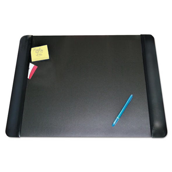 Executive Desk Pad With Antimicrobial Protection, Leather-like Side Panels, 24 X 19, Black