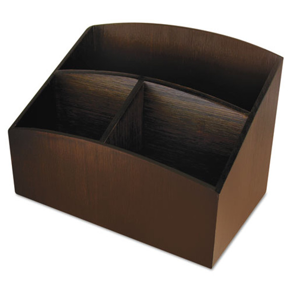 Eco-friendly Bamboo Curves Desk Organizer, 7 1/4 X 4 3/4 X 5 1/4, Espresso
