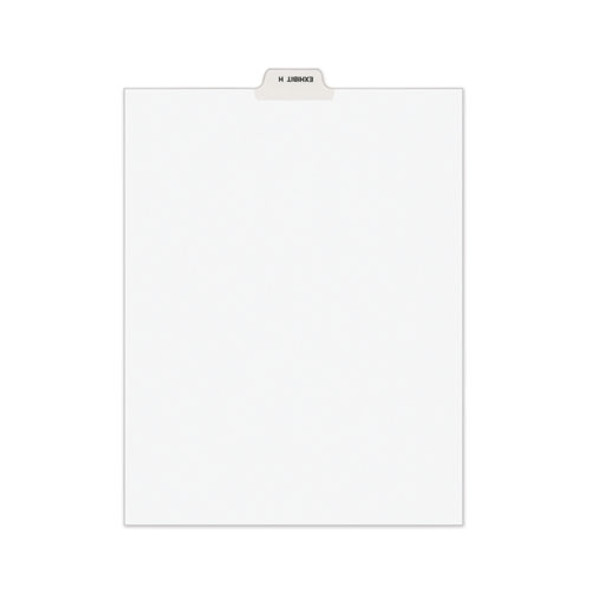 Avery-style Preprinted Legal Bottom Tab Divider, Exhibit H, Letter, White, 25/pk
