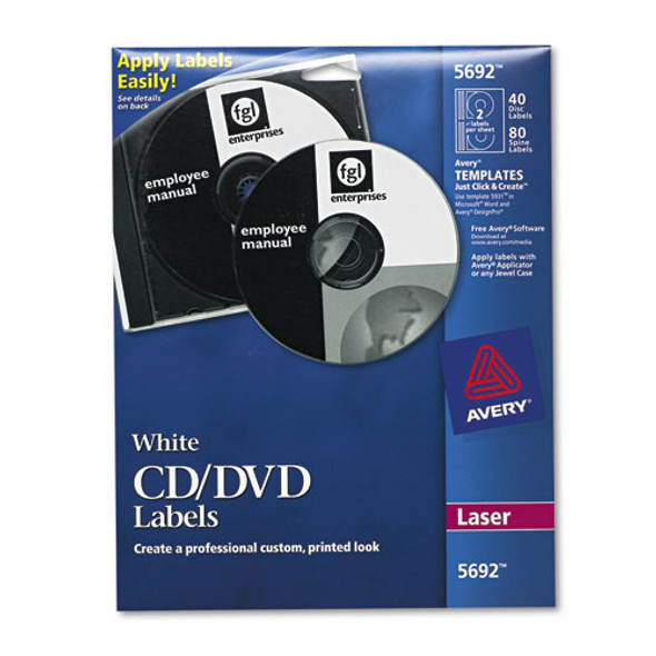 Laser Cd Labels, Matte White, 40/pack