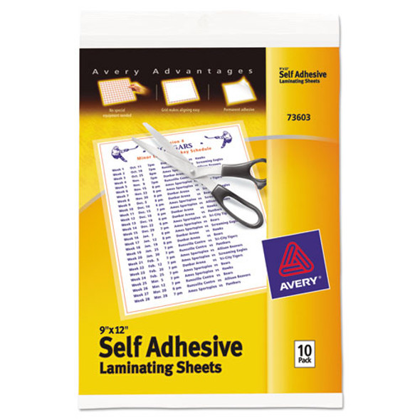 """Clear Self-adhesive Laminating Sheets, 3 Mil, 9"""" X 12"""", Matte Clear, 10/pack"""