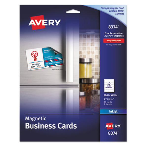 Magnetic Business Cards, 2 X 3 1/2, White, 10/sheet, 30/pack