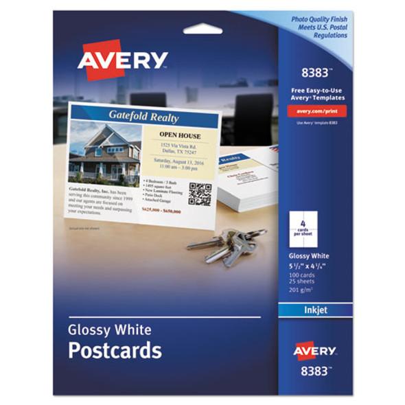 Photo-quality Glossy Postcards For Inkjet Printers, 4 1/4 X 5 1/2, White, 100/pk