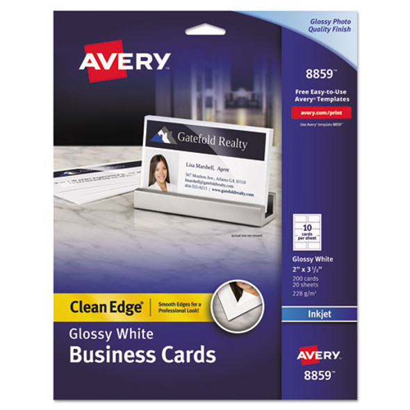 Clean Edge Business Cards, Inkjet, 2 X 3 1/2, Glossy White, 200/pack