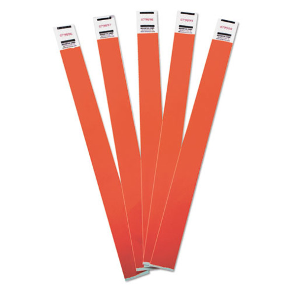 Crowd Management Wristbands, Sequentially Numbered, 9 3/4 X 3/4, Red, 500/pack